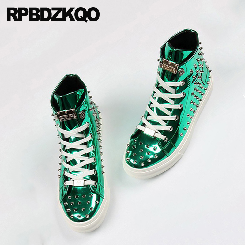 Rivet Men Shoes Italy Brand Skate Hip Hop Sneakers Elevator Stud Trainers Dandelion High Top Green Spike Lace Up Creepers Runway 2