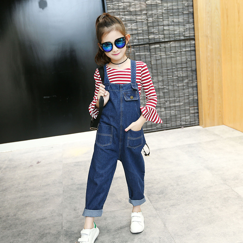 Spring Clothes New Girl Sweet Lotus Sleeve Rendering Unlined Upper Cowboy Suit 2 Pieces Kids Clothing Sets Suits spring clothes new girl tidal range child cowboy salopettes children cartoon suit 2 pieces kids clothing sets suits