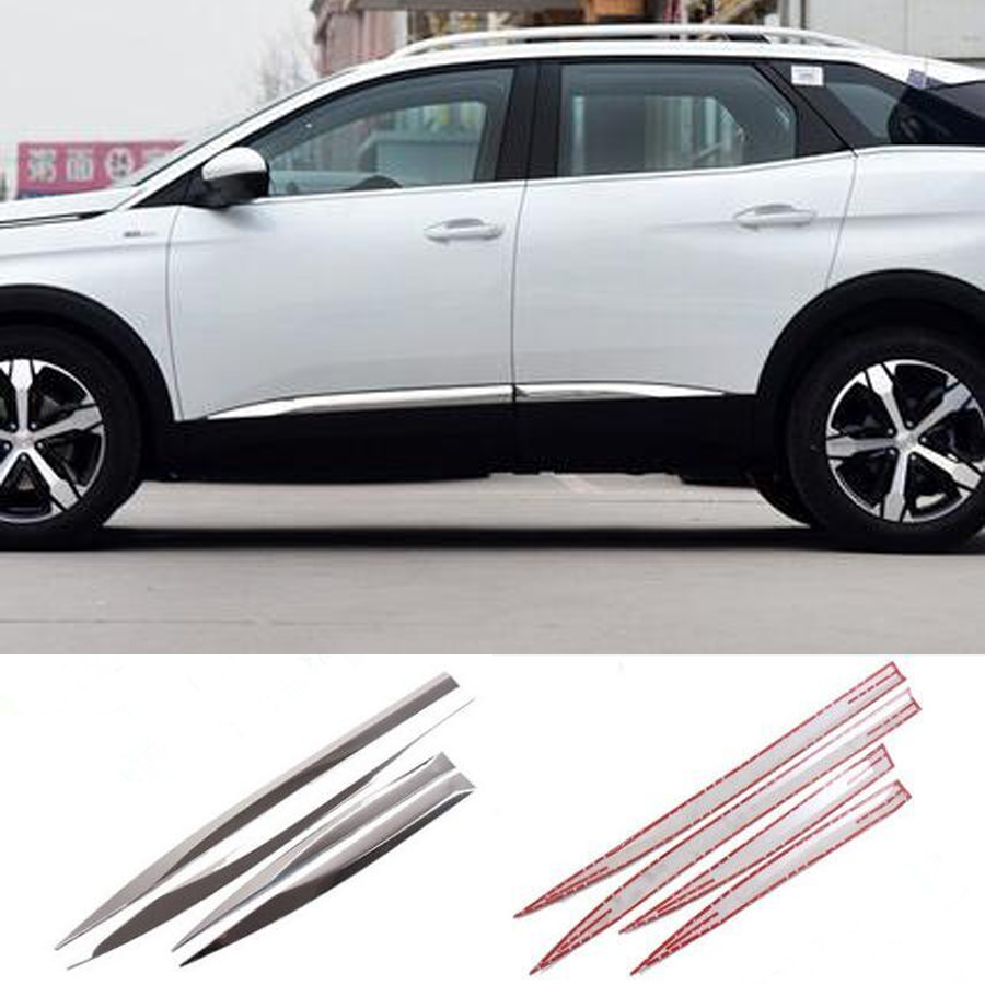 YAQUICKA Stainless Steel Car Exterior Door Body Side Molding Protector Trim Strips For Peugeot 3008 4008 2016-2018 Styling 4Pcs for jeep cherokee 2014 2016 stainless steel auto side door body molding line trim streamer exterior car styling accessories 4pcs