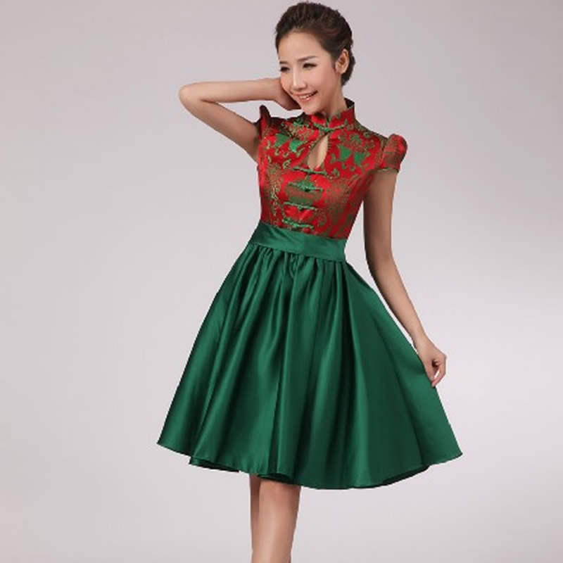 2016 Fashion Chinese Wedding Qipao Green Short Cheongsam