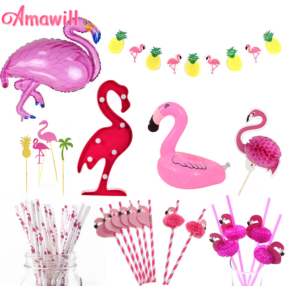 Amawill Flamingo Birthday Supplies Balloon Light Cake Topper Straw Banner For Christmas Tropical