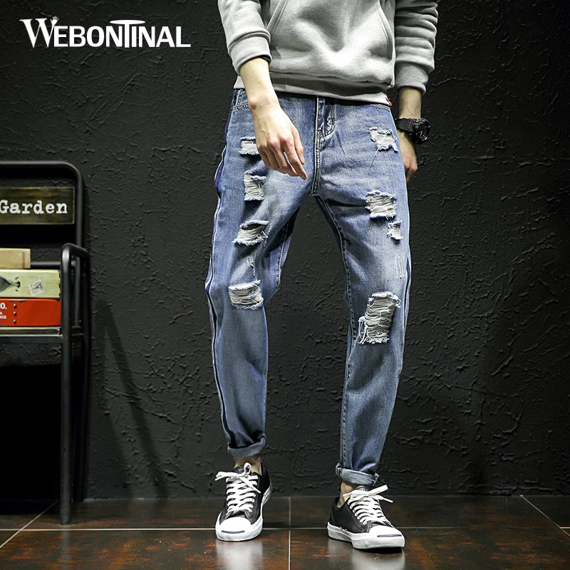 WEBONTINAL 2018 New Harem Jeans Men Ripped Hole Distressed Denim Trousers Streetwear Hiphop Casual Fashion Loose Hip Hop NK03