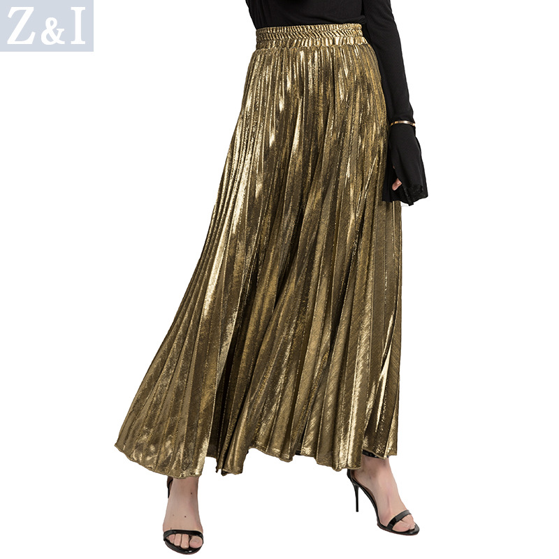 2018 New Women Metallic Silver Gold Skirt Long Skirt Elastic High Waist Metallic Pleated Skirt Party Club Ladies Saia Fenimias