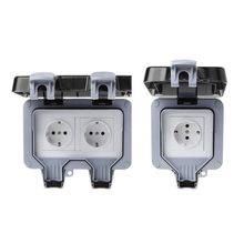 EU Standard Outdoor Wall Switch Socket IP66 Weather&Dust Proof Power Outlet 220-250V цена