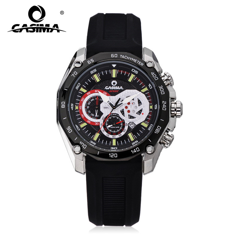 CASIMA Luminous Waterproof Silicone Watch Band Quartz Men's Sports Watches With Chronograph Date 8885 блузка lin show 8885