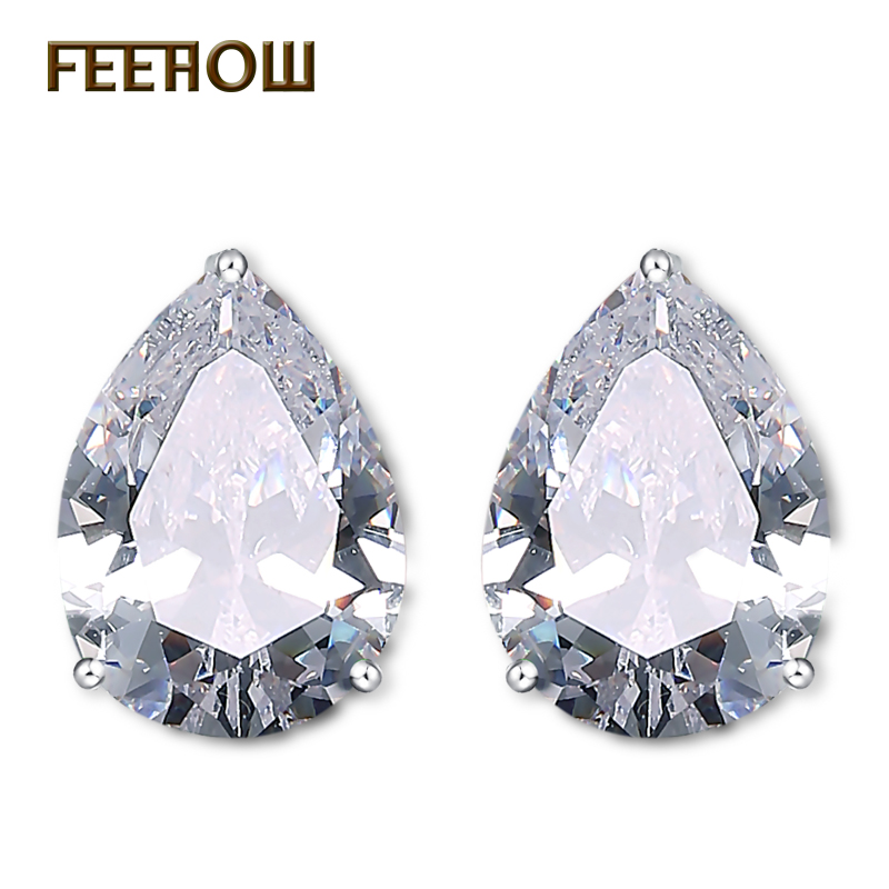 FEEHOW Fashion Pear Cut 9mm & 6mm Water Drop Cubic Zirconia Crystal Stud Earring For Women Fashion Clear Crystal Bijoux FWEP262