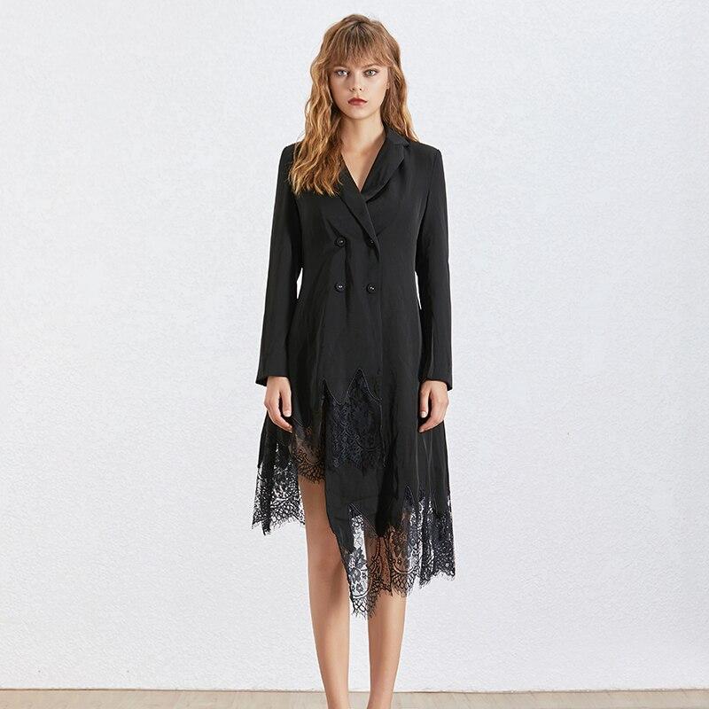 Kadın Giyim'ten Elbiseler'de TWOTWINSTYLE Zarif Dantel Patchwork Elbise Kadınlar Için Yaka Uzun Kollu Yüksek Bel Asimetrik Elbiseler Kadın Moda 2019'da  Grup 2