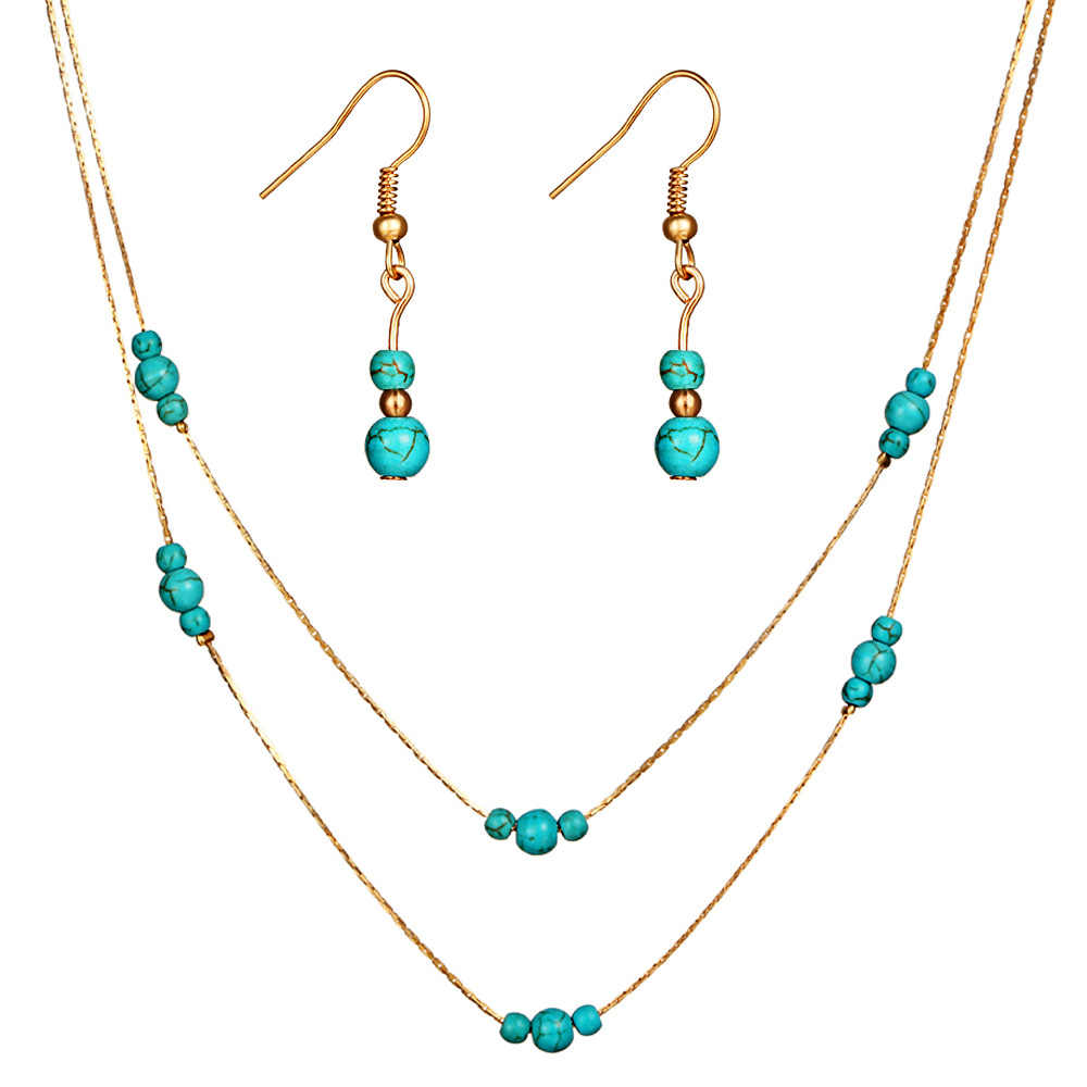 Fashion Blue Beads Custom Jewelry Set For Women Accessories Multilayers Chain Necklace Long Dangle Drop Earring Wedding Jewelry