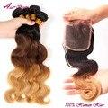 Brazilian Virgin Hair With Closure Three Tone Ombre hair with closure Ombre Human Hair With Lace Closure 3 Bundles With Closure