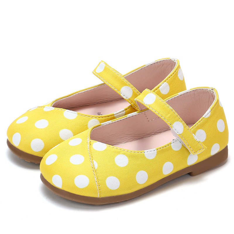 Kids Toddler Little Girl Yellow Dots Cute Flat Single Shoes For Baby Girls Princess Shoes New 2018 Autumn 1 2 3 4 5 6 7 Years