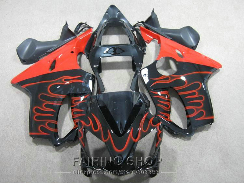 cbr 600 f4i 01 02 03 Red flames Fairings for Honda CBR 600F4i 2003 2002 2001 Injection mold Fairing kit +7gifts ll118 hot sales for honda cbr600f4i 2001 2002 2003 cbr600 f4i 01 03 cbr 600 f4i white dark blue motorcycle fairing injection molding