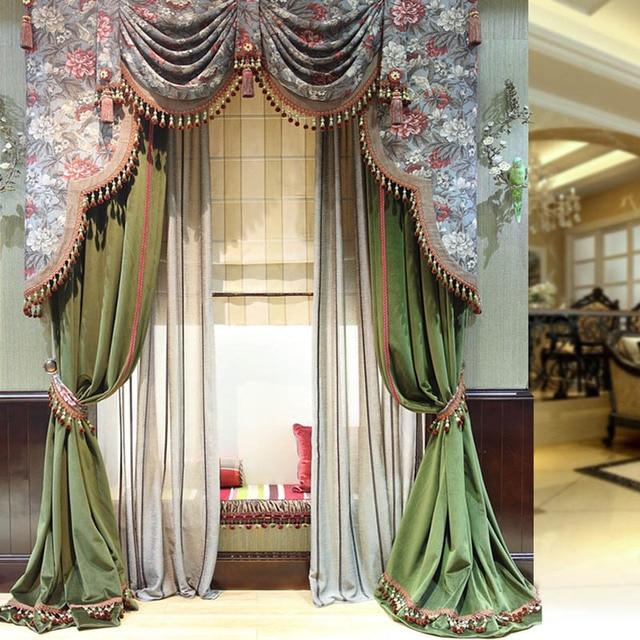 jaloezien shades luiken bloem patroon de klassieke gordijnen zijdeachtige draperie extreme luxe gordijnen afwerking