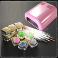 Nails full set Manicure kit 36w Pink UV lamp + 12 glitter uv gels + 12 pieces brushes FreeShipping