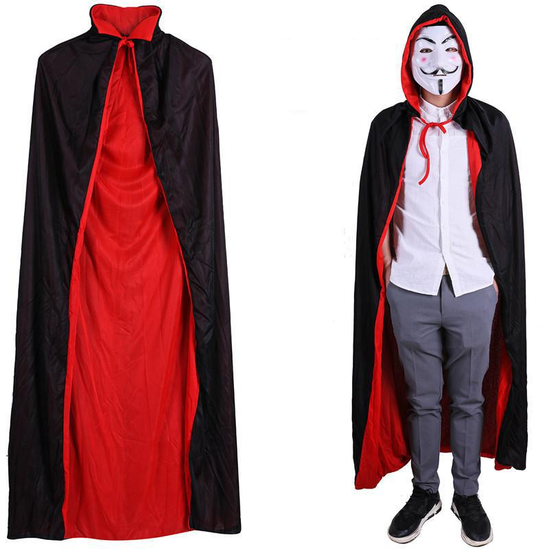 BLACK Red Men Halloween Party Death Cloak Carnival Party Adult Cape Cosplay Long Robe Azrael Dress Stage Performance Clothes