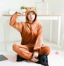Animal pajamas warm adult clothing flannel brown bear regardless of gender Cosplay