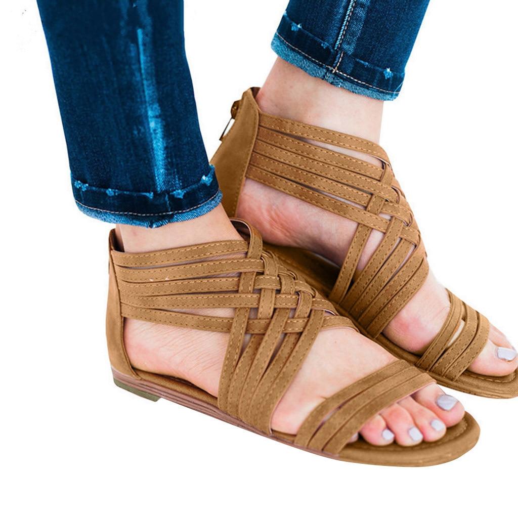 Bout Plates Mujer Plage Marron Zipper Chaussures 2019 Livraison Respirant À Femme Sandalias Casual Xiniu Rome Gratuite Ouvert Vintage Sandales wgIq6xf
