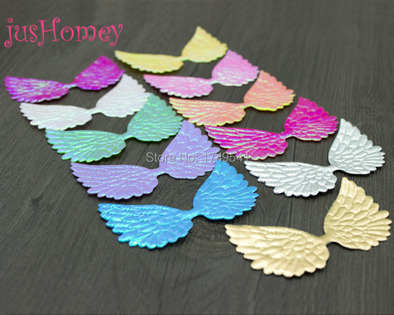 100pcs 75mm BIG Angel Wing Appliques Double Sided Glitter Wing Patches Iridescent Fairy Wing Baby Doll Embellishment