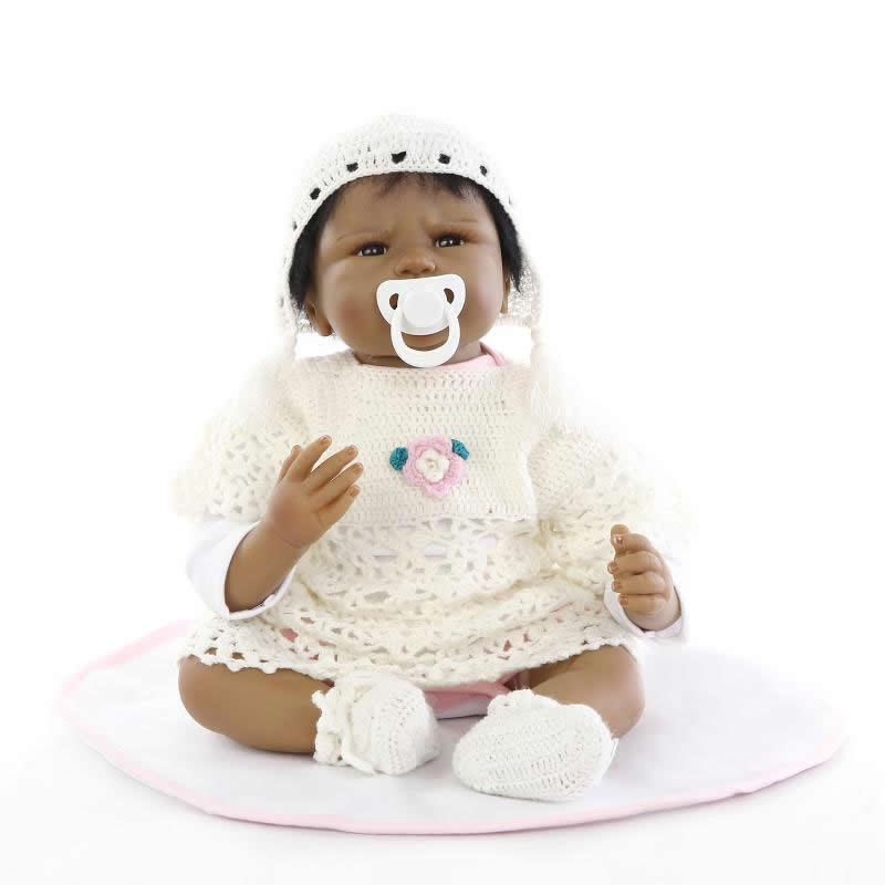 купить 2016 Rare Silicone Black Reborn Baby Doll Girl Real Lifelike Princess Girls Wearing White Dress Children Birthday Xmas Gift недорого