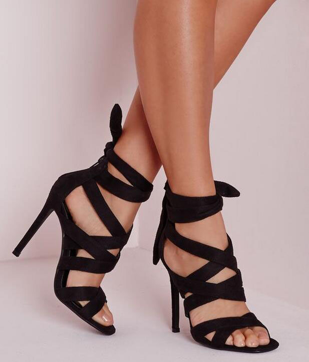 Designer new fashion lace-up high heel sandals cross strap stiletto heels wedding party dress shoes woman women summer sandals fashion women s sandals with metal and stiletto heel design