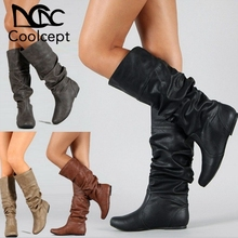 Купить с кэшбэком Coolcept Plus Size 34-52 Women Knee High Boots Fashion Round Toe Fur Winter Shoes Women Concise Office Lady Warm Long Boots