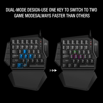 Mini Mechanical Blue Switches PC Gaming Keypad for FPS Games, One-hand Keyboard with LED light - GK100 5