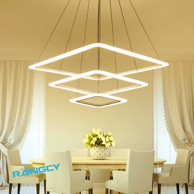 Square Rings Modern LED Chandelier For Living Dining Room Bedroom Lustres Acrylic Hanging Ceiling Chandelier Lighting luminaire 40cm acrylic round hanging modern led pendant light lamp for dining living room lighting lustres de sala teto