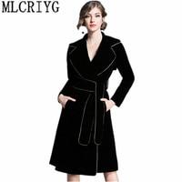 Vintage Long Trench Coat For Women Autumn Spring Trench Coats Outerwear Slim Velvet Windbreaker With Belt casaco feminino YQ128