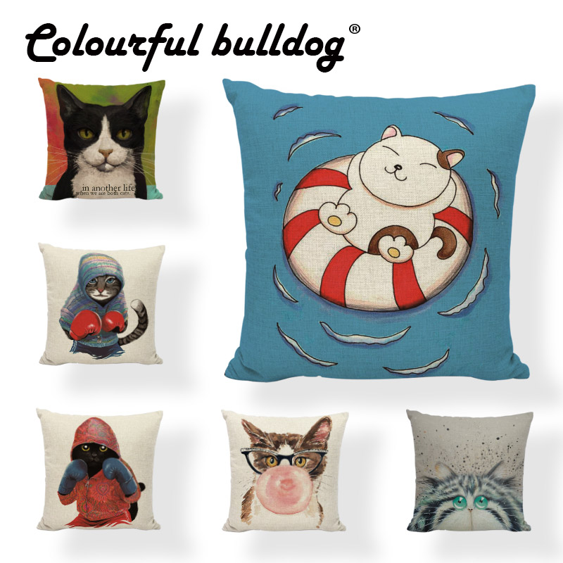 Cartoon Pillow Creative Cat Life Cushion Cover 43*43cm Bubble Gum Reading Home Living Room Childrens Room Decorate Pillow Case