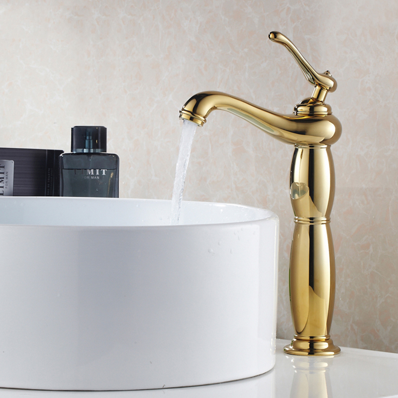 Gold bathroom faucet tall faucet brass chrome bathroom taps rose gold taps mixers faucets Free shipping