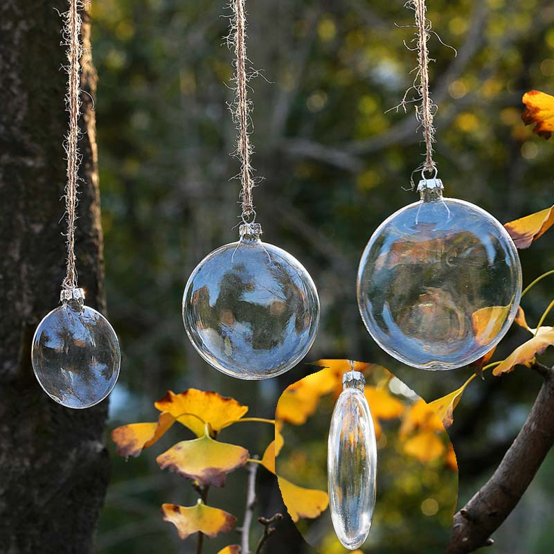 Diy Glass Ornaments: DIY Flat Disc Transparent Glass Ball Christmas Ornament