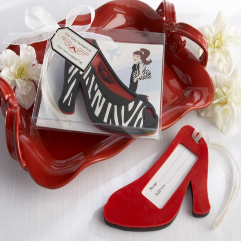 100pcs/Lot+Bridal Shower Favors and Gift First Class Fashionista Rubber High Heel Luggage Tag Wedding Buggage Tag+FREE SHIPPING