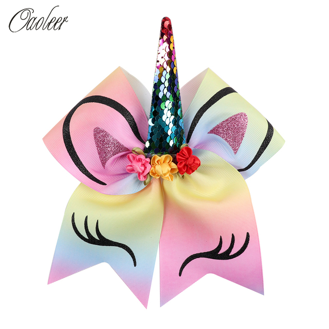 8'' Cartoon Sequin Cheer Bow With Elastic Band Glitter Printed Elastic Band Hair Bow with Flowers Children Hair Accessories