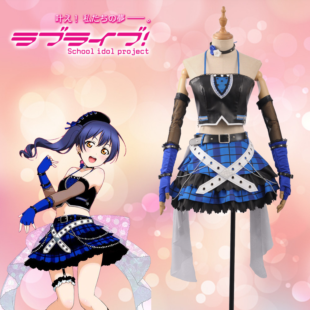 Love Live! Umi Sonoda Fancy Stage Girls Black Leather ROCK Awakening Leather Girl Cosplay Costume Adult Outfit Clothing Dress