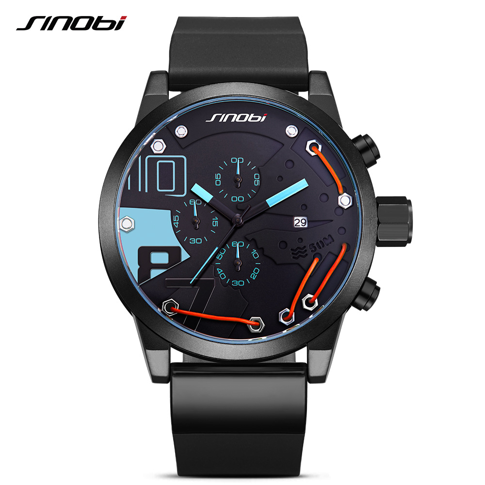 SINOBI Men Sport Chronograph Silicone Watch Waterproof Top Brand Luxury Men's Watches Fashion Casual Quartz Relogio Masculino cricket noise maker