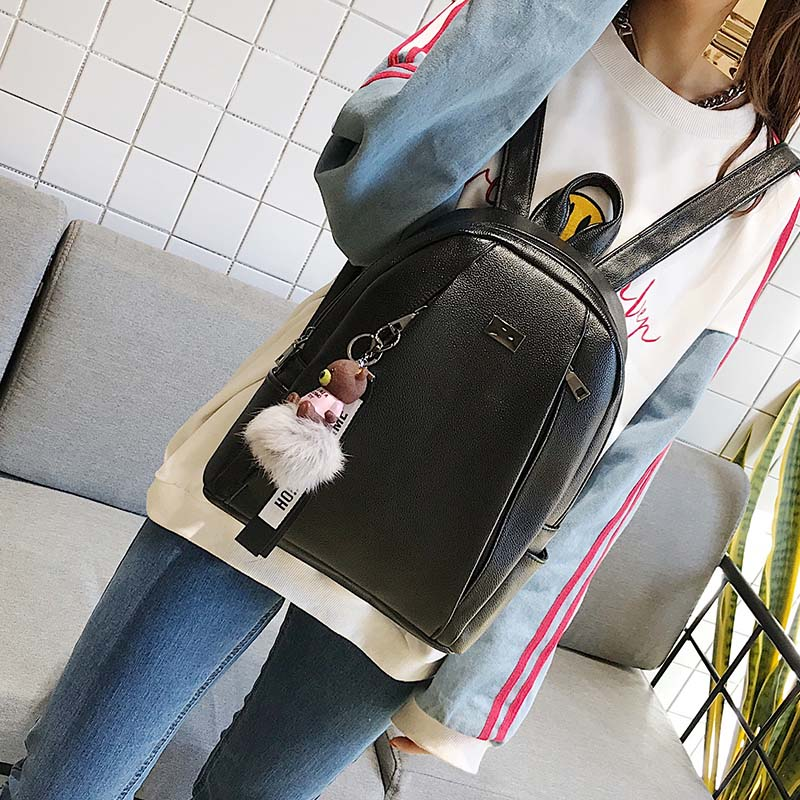 Fashion Gold Leather Backpack Women Black Vintage Large Bag For Female Teenage Girls School Bag Solid Backpacks Mochila Xa56h #3