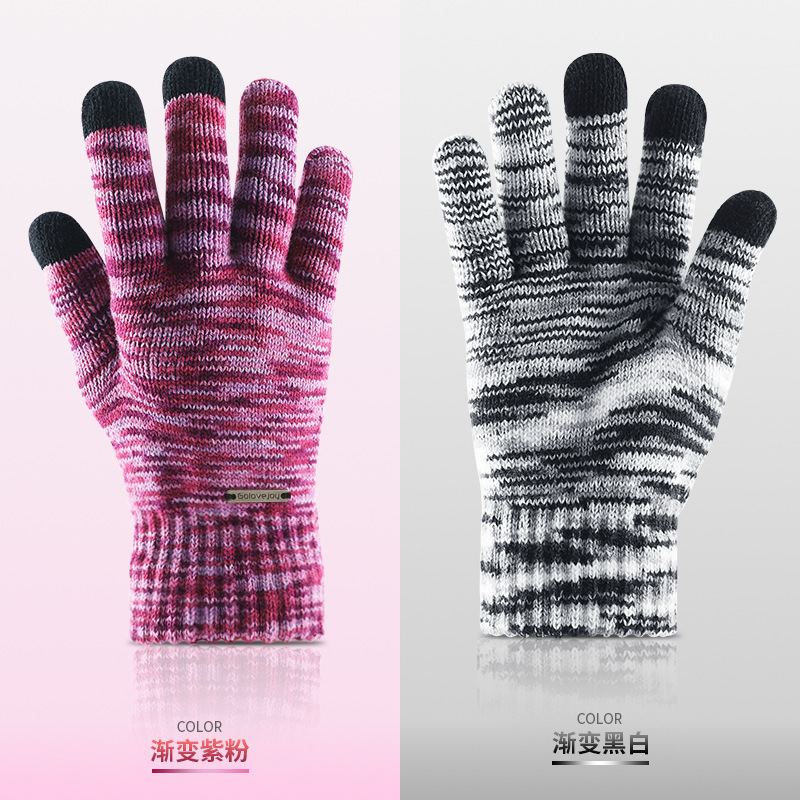 Winter Warm New Touch Screen Female Mittens Ladies Full Fingers Knitted Best Quality <font><b>Gloves</b></font> <font><b>For</b></font> <font><b>Phone</b></font> <font><b>Glove</b></font> Gradation <font><b>Gloves</b></font> image