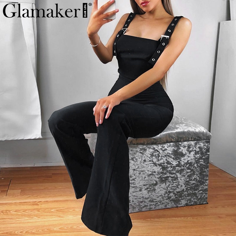 Glamaker Sexy high waist women   jumpsuits   & rompers Winter bodycon   jumpsuit   long playsuit Elegant backless black autumn overalls