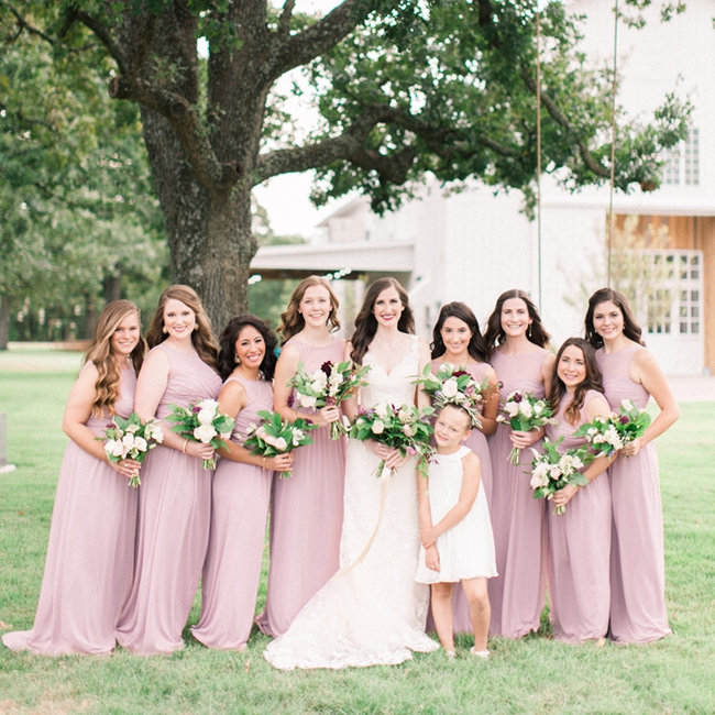 Pale Pink Country Western Bridesmaid Dresses Long Cheap Chiffon ...