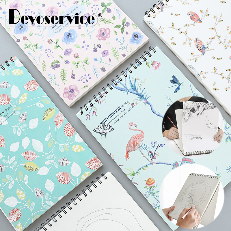 A5 Coil Sketchbook Cute Notebook Blank Paper Journal Drawing Painting Sketch book School Supplies Stationery Store Art Supplies цена