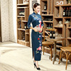 High Quality Vintage Chinese Traditional Women S Velour Qipao Long Cheongsam Top Prom Gown Dress Flowers