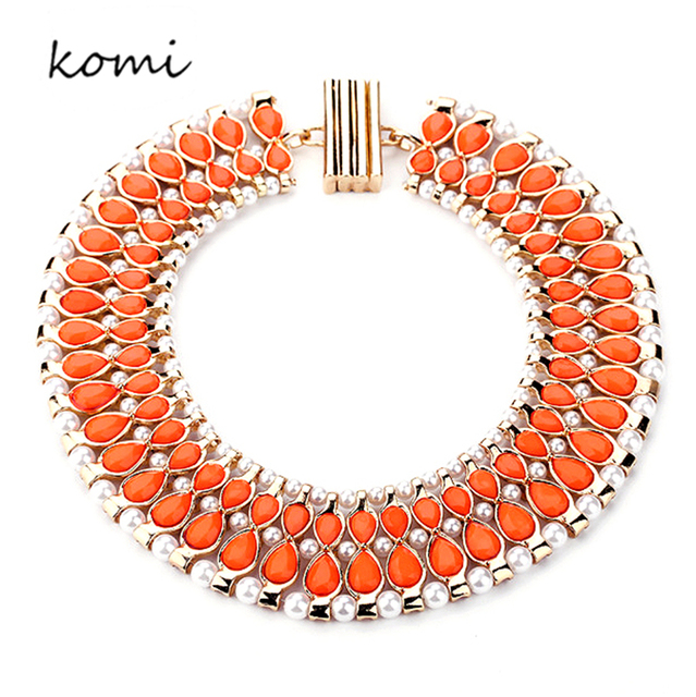 KOMi Statement Necklace 2016 Orange Synthetic Gems Gold Palted Chain Elegant Pearls Collares Vintage Jewelry For Women N-268