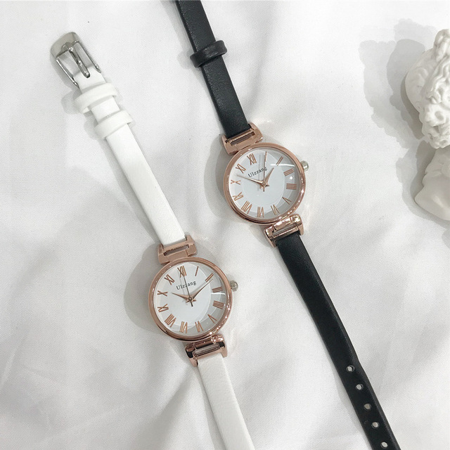 Fashion thin strap roma women watches ulzzang luxury brand black white ladies wr