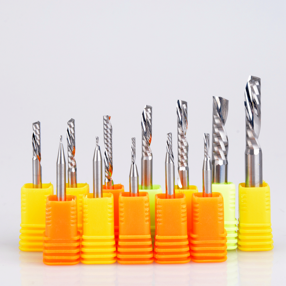 10pcs 3.175mm 4mm 5mm 6mm AAA Left Spiral Milling Cutter Down Cut One Flute Router Bit CNC End Mill Carbide Milling Cutter