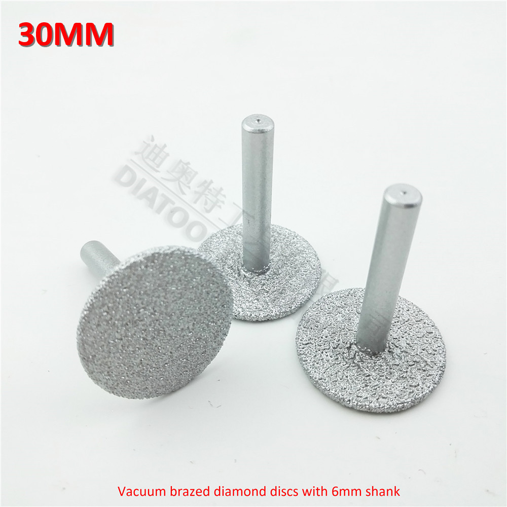 DIATOOL 3pcs Dia30mm Vacuum Brazed Diamond Discs With 6mm Shank Diamond Disc  For Cutting Grinding And Engraving