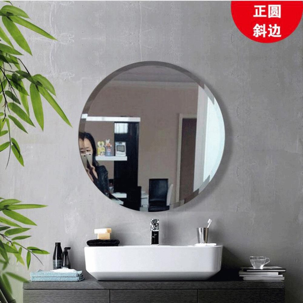 Round bathroom mirror washbasin toilet wash mirror wall mounted bathroom home frameless paste free punch LO612944
