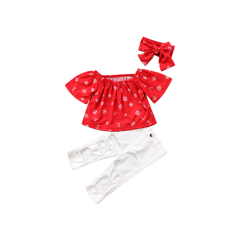 Xmas Party 3PCS Newborn Infant Baby Girls Short Sleeve O-Neck Off Shoulder Pullover Red Print Shirt Tops White Pants Headband