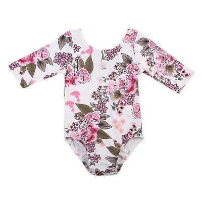 Pudcoco New Kids Baby Dance Long Sleeve Clothes Girls Princess Floral Romper Jumpsuit Outfits Autumn Cotton One-Piece 2017 summer toddler kids girls striped baby romper off shoulder flare sleeve cotton clothes jumpsuit outfits sunsuit 0 4t