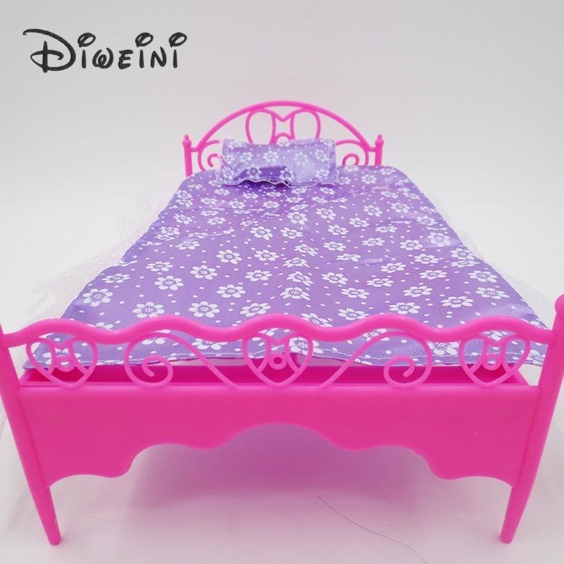 Speelgoed kant bed barbie poppenhuis leven meubels voor for Poppenhuis voor barbie