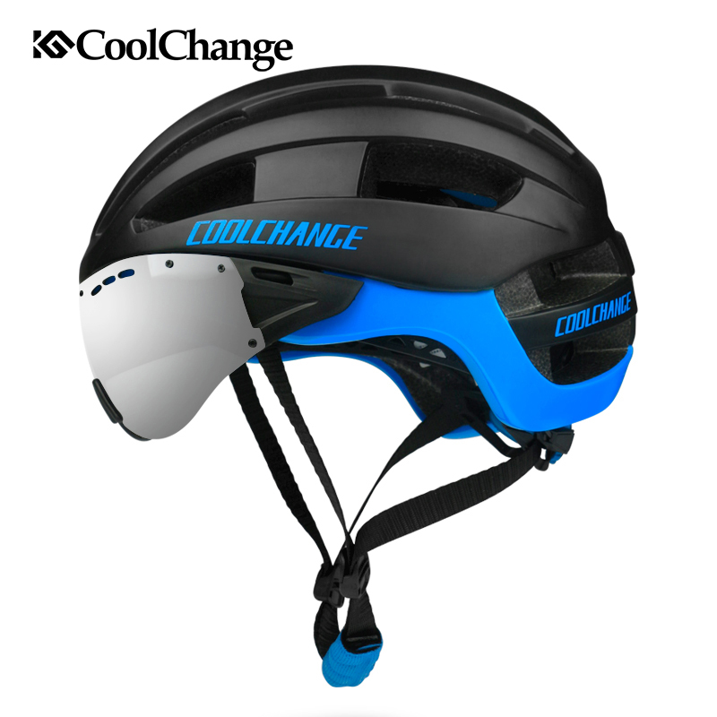 CoolChange Cycling Helmet  Men 16 Vents MTB Bike Helmet EPS Windproof Lenses Integrally-molded Bicycle Helmet Casco Ciclismo topeak outdoor sports cycling photochromic sun glasses bicycle sunglasses mtb nxt lenses glasses eyewear goggles 3 colors
