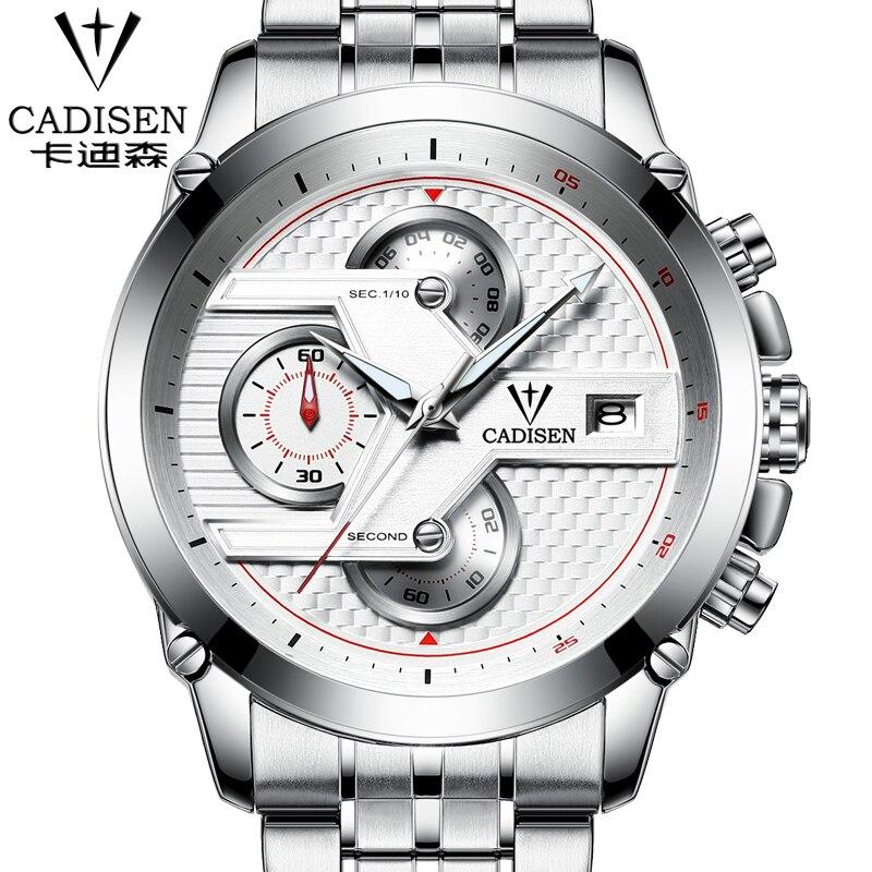 ФОТО 2016 Mens Watches Top Brand Luxury Analog Display Stainless Steel Watches Men Quartz-Watch Cadisen Watch Montre Homme